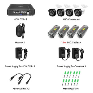Hiseeu Home Security Cameras System Video Surveillance Kit CCTV 4CH 720P 4PCS Outdoor AHD Security Camera System