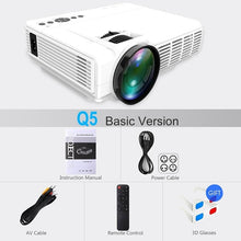 Load image into Gallery viewer, Powerful Q5 LED Projector Portable Full HD Mini Projector 1080P 800*480 Resolution Home Theater Cinema Movie beamer Proyector