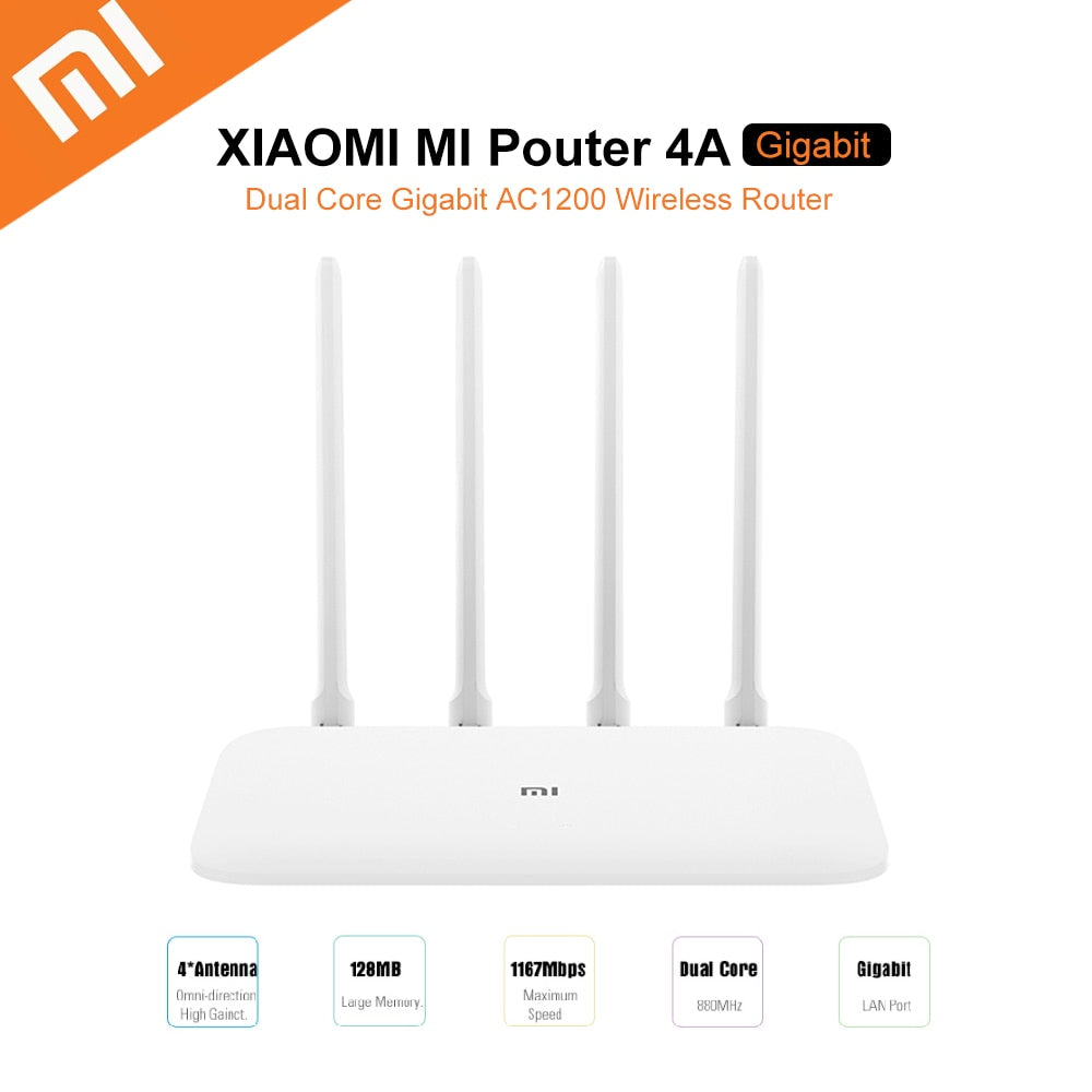 Xiaomi Mi 4A Router Gigabit Edition 2.4GHz + 5GHz WiFi 16MB ROM + 128MB DDR3 High Gain 4 Antenna Remote APP Control Support IPv6