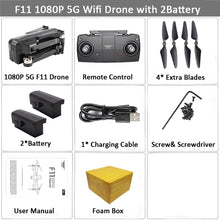 Load image into Gallery viewer, SJRC F11 GPS Drone with 5G Wifi FPV 1080P Camera Brushless Quadcopter 25mins Flight Time Gesture Control Foldable Dron Vs CG033