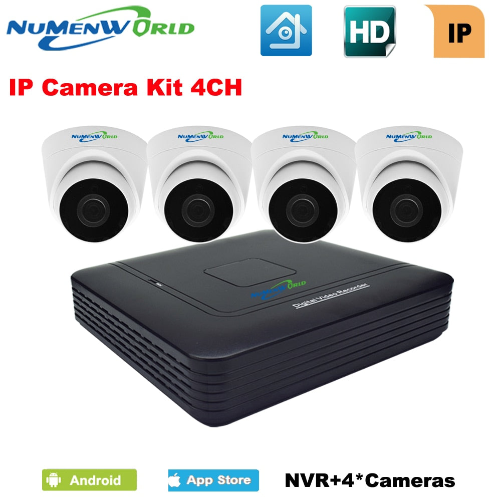 4CH NVR KIT IP camera KIT 4 channel network video recorder with 4pcs 720P IP dome camera Home Surveillance System