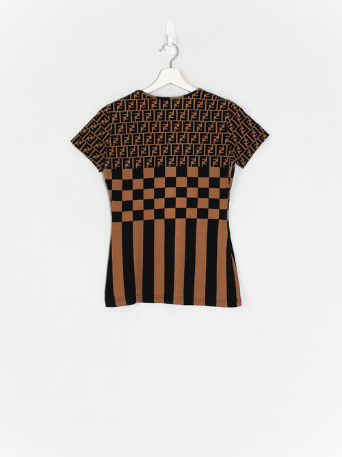 Womens Fendi Zucca Monogram Top (XS)