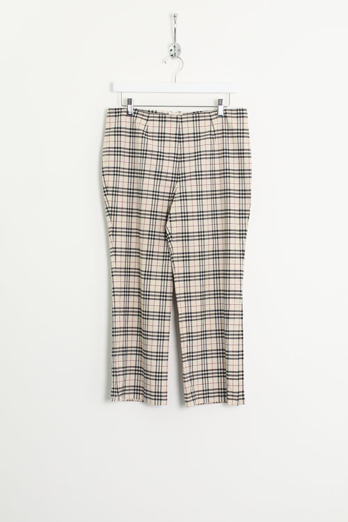 Womens Burberry Nova Check Cropped Trousers (S)