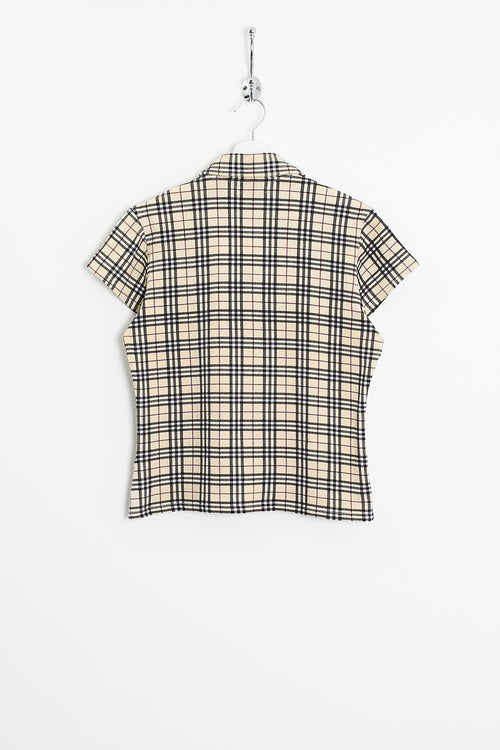 Womens Burberry Nova Check Polo Shirt (L)