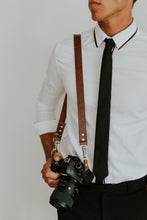 Load image into Gallery viewer, MOON Vintage Brown Dual Leather Camera Harness for DSLR, mirrorless and film photographers