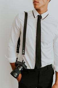 MOON Classic Black Leather Shoulder Camera Strap for DSLR