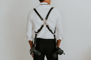 MOON Classic Black Dual Leather Camera Harness for DSLR, mirrorless and film photographers