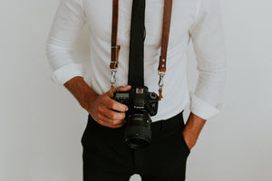 MOON Vintage Brown Leather Shoulder Camera Strap for DSLR