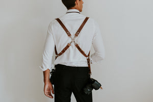 MOON Vintage Brown Dual Leather Camera Harness for DSLR, mirrorless and film photographers