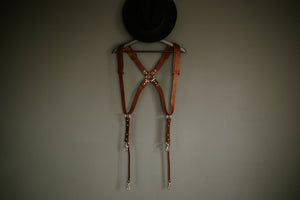 MOON Dual Camera Harness Brown with Shoulder pads