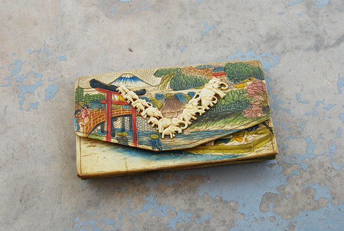 vintage 20s 30s Asian Clutch Purse 1930s Japanese Tooled and Painted Leather Celluloid Elephant Handbag