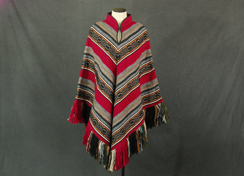 vintage 70s Mexican Poncho - 1970s Heavy Striped Blanket Cape Sz S M L