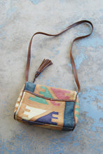 vintage 80s Kilim Purse - 1980s Boho Ethnic Tapestry and Leather Shouder Bag