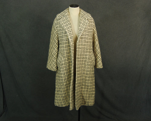vintage 50s Swing Coat - 1950s Wool Boucle Coat Basket Weave Plaid Coat Sz S M L