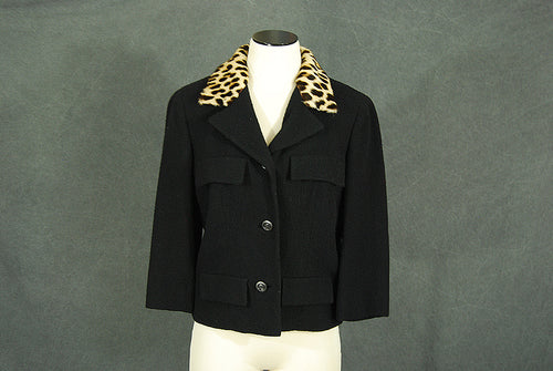 vintage 50s Wool Coat - 1950s Leopard Fur Collar Coat - Black Wool Short Coat Sz M L