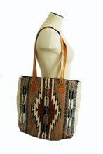 vintage 80s Navajo Rug Tote Bag - 1980s Large Southwestern Shoulder Bag Western Wool Tapestry Bag