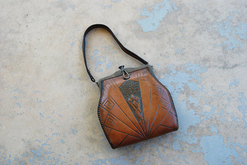 Antique Edwardian Tooled Leather Purse - 1910s 20s Art Nouveau Arts & Crafts Brown Handbag