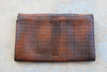 vintage 30s Tooled Leather Clutch Purse 1930s Art Deco Leather Handbag