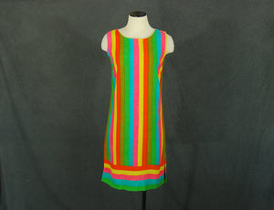 vintage 60s Rainbow Striped Dress - 1960s Mod Striped Linen Shift Dress Sz S