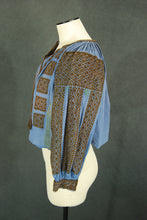 vintage Romanian Peasant Blouse - Antique Slovak Embroidered Eastern European Folk Blouse Blue Embroidered Shirt Sz S