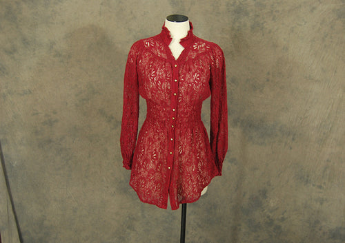 vintage 70s Lace Blouse - 1970s Red Victorian Prairie Blouse Sheer Lace Shirt Sz S M