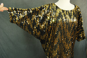 vintage 80s Beaded Blouse - 1980s Black and Gold Sequin Shirt Flapper Blouse Sz M L XL