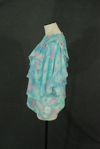vintage 80s Silk Blouse - 1980s Asymmetrical Chiffon Top Sz L XL