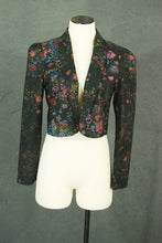 vintage 80s Cropped Jacket - 1980s Black and Neon Floral Bolero Jacket Open Front Jacket Sz S M