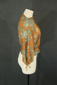 vintage 70s Balloon Sleeve Blouse - Boho Brown Floral Dolman Sleeve Shirt Sz S M