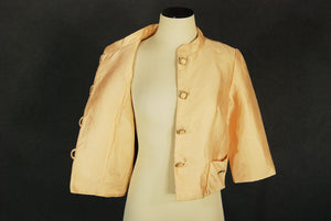 vintage 50s 60s Silk Jacket - 1950s Peach Silk Shantung Cropped Jacket Evening Jacket Sz M