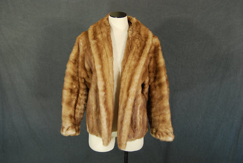 vintage 50s 60s Mink Fur Coat - 1950s Short Swing Coat - Light Mink Fur Evening Coat Sz S M