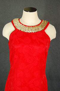 vintage 60s Party Dress - 1960s Sequin Trimmed Red Floral Damask Mini Dress Sz S M