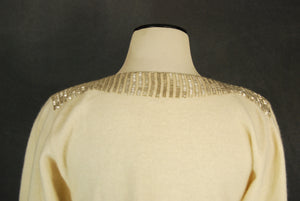 vintage 80s Beaded Sweater - 1980s Art Deco Beaded Sweater White Wool Sweater Sz S M