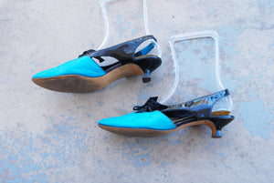 vintage 60s Mod Color Block Heels - Cut Out Oxfords Blue and Black Patent Leather Slingback Heels 1960s Kitten Heels Sz 7.5 38