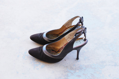 vintage 50s High Heels - Brown Leather and Suede Slingback Heels Bow Sling Back Stilettos 1950s Shoes Sz 6 37