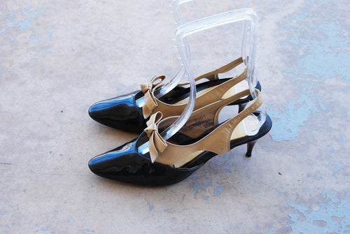vintage 60s High Heels - Color Block Patent Leather Slingback Black and Tan Sling Back 1960s Shoes Sz 8 39