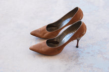 vintage 50s High Heels - Brown Suede Studded Heel Stilettos 1950s Shoes Sz 6.5 37