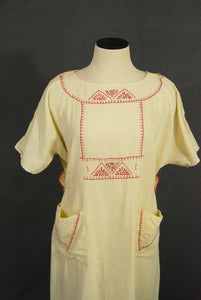 vintage 20s Dress - 1920s Embroidered Cotton Dress Flapper Dress Sz M L XL