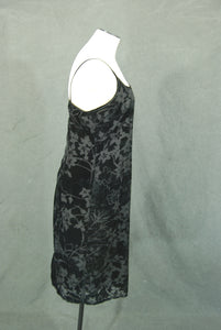 vintage 90s Burnout Velvet Dress - 1990s Black Floral Velvet Slip Dress Sz M