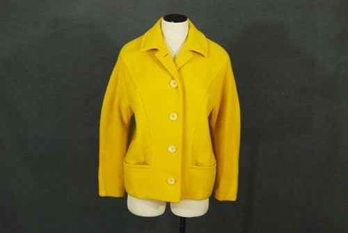 vintage 60s Wool Coat - 1960s Mod Yellow Wool Short Coat Sz M