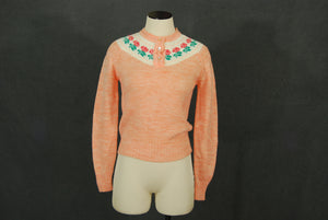 vintage 70s Sweater - 1970s Pink Heather Rose Print Pullover Sweater Henley Sweater SZ XS S