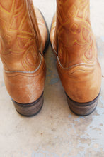 vintage 70s Cowgirl Boots - 1970s Boho Tan Leather Cowboy Boots - Womens Western Boots Sz 7 38