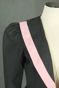 vintage 80s Peplum Jacket - 1980s Pink and Black Suit Blazer Sz M