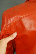 vintage 70s Leather Jacket - 1970s Orange Short Jacket Amber Leather Coat Sz S M