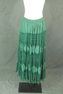 vintage 90s Crochet Maxi Skirt - 1990s Green Patchwork and Lace Broomstick Skirt Sz M L