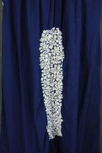 vintage 70s Mexican Peasant Dress - Boho Navy Blue and White Embroidered Cutwork Tent Dress Sz S M