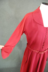 vintage 40s Dress - 1940s Red Day Dress Rayon Gabardine Dress Sz M AS IS