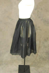 vintage 50s Circle Skirt - 1950s Ruffled Black Sheer Organdy Organza Full Skirt Sz S