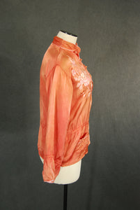 vintage 40s Pajama Shirt - Babe Floral Embroidered Peach Satin Blouse - 1940s Asian Oriental Lounge Top Sz M