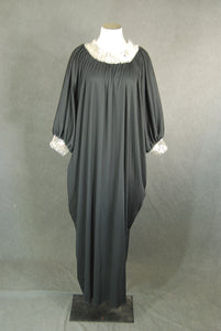vintage 70s Caftan - Sequin Trimmed Black Maxi Dress 1970s Lounge Wear S M L